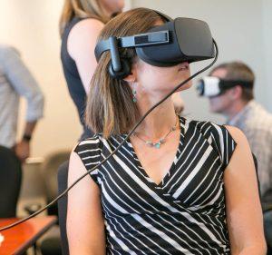 person using oculus rift