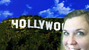 girl in front of hollywood sign