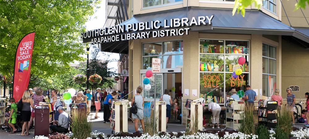 southglenn library book sale sidewalk