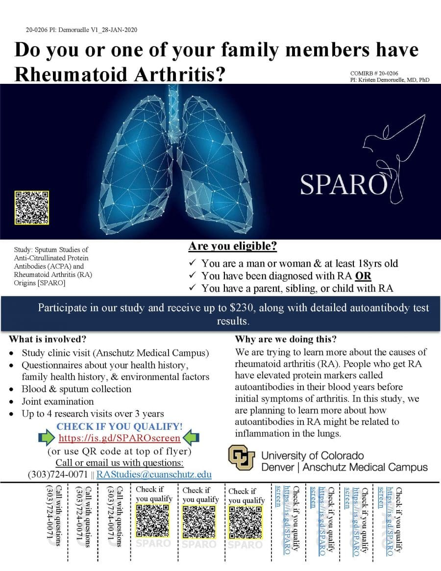 Do you or one of your family members have Rheumatoid Arthritis? Participate in our study and receive up to $230 along with detailed autoantibody test results. Check if you qualify, call 303-724-0071 or email RAStudies@cuanschutz.edu.