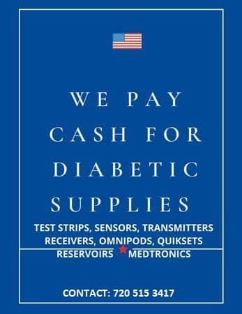 We pay cash for diabetic supplies. Test Strips, sensors, transmitters, receivers, omnipods, quiksets, reservoirs and medtronics. Contact: 720-515-3417