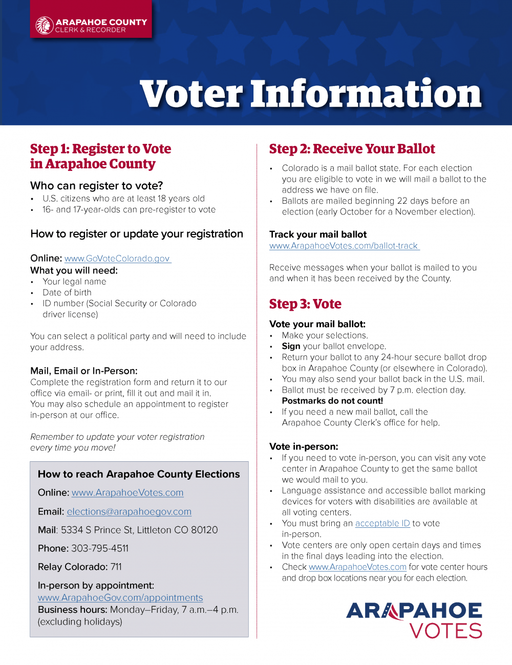 Arapahoe County Voter Information. Register Online: www.GoVoteColoroado.gov. How to reach Arapahoe County Elections Online: www.ArapahoeVotes.com Email: elections@arapahoegov.com Mail: 5334 S Prince St, Littleton CO 80120 Phone: 303-795-4511 Relay Colorado: 711 In-person by appointment: www.ArapahoeGov.com/appointments Business hours: Monday–Friday, 7 a.m.–4 p.m. (excluding holidays)