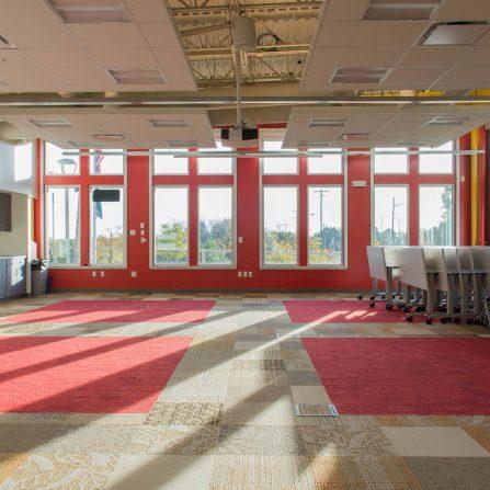 large meeting room with big windows